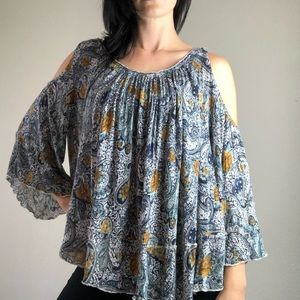 Free People paisley long sleeve blouse size small